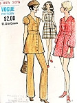 1970s Cute Mini Dress, Tunic and Pants Pattern A Line Dress In Tunic, Mini or above Knee Length, Slightly Flared Pants Vogue 7849 Vintage Sewing Pattern Bust 31.5