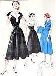 1950s Empire Halter Dress and Bolero Pattern Rockabilly V Neckline Wide Notched Collar Fitted Bodice Flared Skirt Day or Evening Party Cocktail Dress Butterick 6055 Vintage Sewing Patterns Bust 32