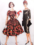 1950s Slim or Full Skirt Day or Evening Party Midriff Dress McCalls 5142 Scoop Neckline Bust 34 Vintage Sewing Pattern