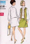 1960s Mod Blouson Dress and Jacket Pattern Vogue 7620 Vintage Sewing Pattern Low Waist Dress Button Back Sleeveless Jacket Vest UNCUT Bust 34