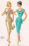 1960 Evening Cocktail Party Dress Pattern Hannah Troy McCalls 5412 Vintage Sewing Pattern Figure Hugging Slim Dress Deep V Neckline and Back Very Chic Design Bust 37.5 UNCUT