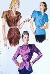 1940s Beautiful Peplum Over Blouses Pattern 3 Unique Blouse  Styles Evening or Daytime Figure Flattering Cascade Back Peplum Version Simplicity 2271 Vintage Sewing Patterns Bust 37