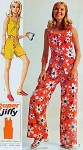 Mod 60s Jumpsuit Rompers Pattern Super Jiffy Simplicity 8787 Vintage Sewing Pattern Easy To Sew Front Zip Wide Leg Jumpsuits Bust 38