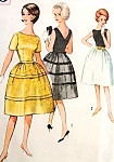 1960s Cocktail Party Dress Pattern Simplicity 4595 Vintage Sewing Pattern Bateau Neckline V Back Bell Shape Skirt Flirty Design Bust 33