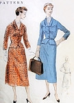 1950s Suit Pattern Vogue 8366 Vintage Sewing Pattern Fitted Jacket Cutaway Front 4 Pc Skirt Wear As Dress or Suit Bust 32