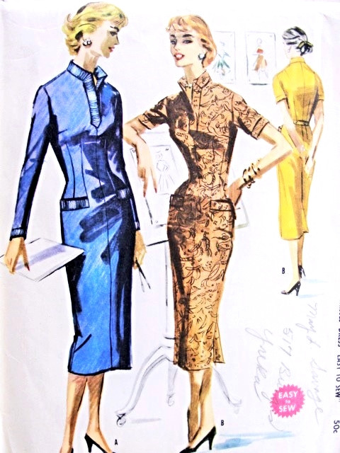 8b1af7efdb424 1950s Slim Wiggle Dress Pattern Easy To Sew McCalls 3463 Vintage Sewing  Pattern Slit Neckline Figure Show Off Style Bust 30