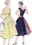 1950s Dress Pattern McCalls 9787 Full Skirt V NeckLine Figure Flattering Fitted Bodice Sundress Vintage Sewing Pattern Bust 30