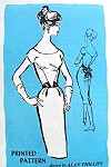 Late 50s Cocktail Party Evening Dress Pattern Slim Figure Show Off Sheath Dress Flirty Back Bow Sash Alan Philips Prominent Designer M402 Vintage Sewing Pattern Bust 32