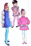 60s Adorable Girls Dress Pattern Simplicity 8525 Vintage Sewing Pattern Mod Dress Puff Sleeves Ruffle Neck Boho Kawaii Lolita Style UNCUT