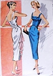 1950s Stunning Slim Cocktail Evening Dress Pattern McCalls 3992 Striking Draped Sq Neckline Low Strappy Back Cummerbund With Back Buckle Bust 34 Vintage Sewing Pattern FACTORY FOLDED