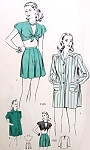 1940s Playsuit  Beachwear Pattern Pin Up Front Tie Midriff Crop Top, Box Pleat Shorts and Boxy Beach Jacket  Hollywood 1585 Vintage Sewing Pattern