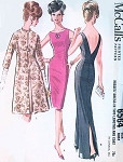 Early 60s Sizzling Evening Gown Cocktail Dress and Coat Pattern McCalls 6564 Glove Fitting Sheath Dress Plunging V Back Stunning Design Vintage Sewing Pattern Bust 32