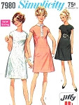 1960s Mod Dress Pattern Simplicity 7980 Mod A-Line Mini 3 Styles Easy To sew Jiffy Vintage Sewing Pattern Bust 34