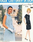 1960s Elegant Federico Forquet Dress Pattern Vogue Couturier Design 2041 Front Button Day or Cocktail Dress Vintage Sewing Pattern Bust 34