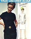 1960s MOD Two Piece Dress Jo Mattli Pattern Vogue Couturier Design 1661 Slim Skirt, Seam Interest Over Blouse Top Classy Bust 32 Vintage Sewing Pattern UNCUT