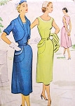 1950s Lovely Dress and Bolero Jacket Pattern McCalls 8893 Slim Front Flowing Back Skirt Dress Figure Flattering Style bust 32 Vintage Sewing Pattern