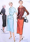 1950s Two Piece dress Pattern McCalls 9107 Snappy Overblouse and Pencil Slim Skirt Bust 32 Vintage Sewing Pattern