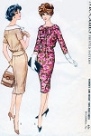 1950s  Two Piece Dress Pattern Mccalls 4924 Lovely Face Framing Neckline, Blouson Jacket Top Slim Narrow Skirt Bust 44 Vintage Sewing Pattern