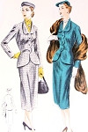 1950s  Classic Slim Skirt Suit Pattern Vogue 7461 Sleek Fitted Jacket Scalloped Detail Pencil slim Skirt Bust 32 Vintage Sewing Pattern FACTORY FOLDED