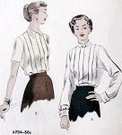 Late 40s Blouse Pattern Vogue 6704 Two Lovely Collar Styles Box Pleated Front Bust 30 Vintage Sewing Pattern FACTORY FOLDED