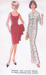 1960s Slim Evening Dress Pattern McCalls 8012 Full or Cocktail Length Glove Fitting Party Dress with Jacket Low U Neckline Bust 31 Vintage Sewing Pattern UNCUT
