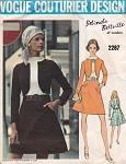 Late 60s Belinda Bellville Dress Pattern Vogue Couturier Design 2287 Semi Fitted  A Line dress With Mock Jacket Bust 32.5 Vintage Sewing Pattern