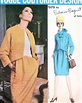 1960s Classy Federico Forquet Dress and Jacket With Tube Scarf Pattern Vogue Couturier Design 1575 Features Seam Interest Bust 31 Vintage Sewing Pattern Only scarf Cut Rest Is FACTORY FOLDED plus Sew In Label