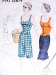 1950s Beach Wear Pattern Vogue 6944 Long Walking Cuffed Shorts,Low Shaped Neckline Deep Cut Out Back Waistcoat Blouse Top  Bust 32 Vintage Sewing Pattern