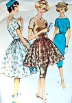 1950s Mad Men Era Cocktail Party Dress Pattern McCalls 5108 Lovely Slim or Full Skirt and Tunic Bust 32 Vintage Sewing Pattern