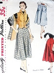 1950s Skirt,Weskit Vest and Stole Pattern Simplicity 3712 Flared 4 Gored Skirt, Patch Pockets Version Vintage Sewing Pattern