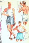 1950s  Fly Front Mens BOXER SHORTS Pattern Simplicity 4149 Adjustable Waist Menswear Vintage Sewing Pattern Waist 36