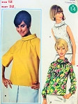 1960s Overblouse Pattern Butterick 4476 Quick n Easy Bias Rolled Collar Blouses In Three Style Versions Bust 32 Vintage Sewing Pattern