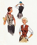 1950s Vest Weskit Pattern McCall 8228 Wear As Vest or As Blouse Plunging V Neckline  Bust 30 Vintage Sewing Pattern