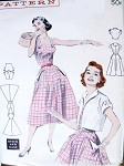 1950s Perky Sun Dress and Jacket Pattern Quick n Easy Butterick 6992 Button Straps, Sweeping Four Gore Skirt Dress Short Crop Bolero Bust 36 Vintage Sewing Pattern FACTORY FOLDED