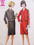 1960s Mad Man Era Slim Suit Pattern McCalls 7061 Lovely Short Jacket, Slim Skirt Bust 31 Vintage Sewing Pattern
