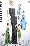 1960s Evening Dress Gown Pattern Butterick 2488 AUDREY Style BREAKFAST AT TIFFANYS,Slim Bateau Neckline, With or Without Attached Panels, Over Skirt, Low Back  Bust 32 Stunning Design Vintage Sewing Pattern