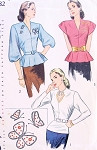 1940s Stunning Peplum Blouse Pattern Simplicity 1782 Three Styles Daytime or Evening Overblouses Film Noir Keyhole Neckline Version, Includes Transfer For Sequins Bust 36 Vintage Sewing Pattern