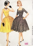1960s Cocktail Party Dress Pattern McCalls 5729 Square Neckline Full Skirt With Attached Petticoat 1960 Miss America Style Easy To Sew Bust 35 Vintage Sewing Pattern
