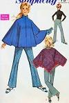 Mod 1960s Cape Poncho and Bell Bottom Pants Pattern Simplicity 7871 Classy Front Zip Design Cape Coat Bust 36 Vintage Sewing Pattern FACTORY FOLDED