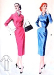 1950s Stunning Slim Dress Pattern Butterick 7479 Striking Wing Collar Wiggle Slim Dress Bust 34 Vintage Sewing Pattern