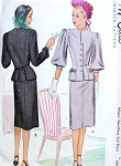 1940s Stylish Suit Dress Pattern McCall 6685 Two Sleeve Styles Slim Skirt With Front Slit Bust 34 Vintage Sewing Pattern