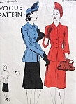 1940s Two Piece Dress or Suit Pattern Vogue 9154 Flared Peplum Blouse Jacket Flared Skirt Easy To Make Bust 32 Vintage Sewing Pattern
