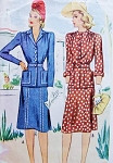 1940s  WW II Suit Pattern McCall 4564 Stylish Suit or Two pc Dress Two Neckline Style Versions Bust 40 Vintage Sewing Pattern