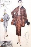1950s Coat and Skirt Pattern Vogue special Design 4522 Straight  three quarter Coat Jacket Pencil Slim Skirt Bust 34 Vintage Sewing Pattern