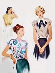 1940s Lovely Blouse Pattern McCall 7231 Button Back Two Neckline Styles Bust 30 Vintage Sewing Pattern