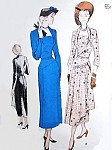 1940s Unique Dress Pattern Butterick 5063 Day or Evening Flattering Draped Cowl Neckline, Two Skirt Options Shirred Cascading Front Drape or Without Drape Bust 42 Vintage Sewing Pattern