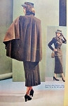 1940s High Fashion Cape and Suit Pattern Womans Day 3100 Amazing Cape Coat Fitted Longer Jacket Suit Pleated Back Skirt Bust  32 Vintage Sewing Pattern