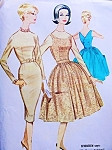 1960 MAD MEN Dress Pattern McCalls 5517 Wiggle Sheath Dress or Full Skirt Back Wrapped Jumper Large Pockets Bust 33 Vintage Sewing Pattern UNCUT