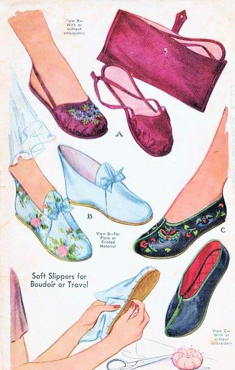 1bd1354d8ae78 1940s SLIPPERS SHOES FLATS Pattern McCall 1075 Forties WW II Perfect To  Wear As Shoes or Boudoir Slippers With Travel Case Size Medium Vintage  Sewing ...