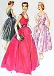 1950s Stunning Evening Gown or Cocktail Party Dress and Cummerbund Pattern McCalls 4290 Figure Flattering Deep V Necklines Full Skirt Bust 36 Vintage Sewing Pattern